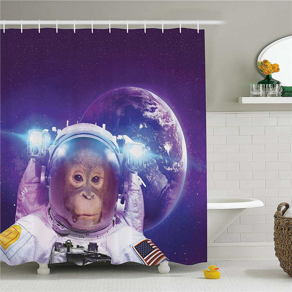 2019 Space Decor Shower Curtain Astronaut Monkey On Outer Space With Planet Earth Background Humor Image Fabric Bathroom Decor Set With Hooks From