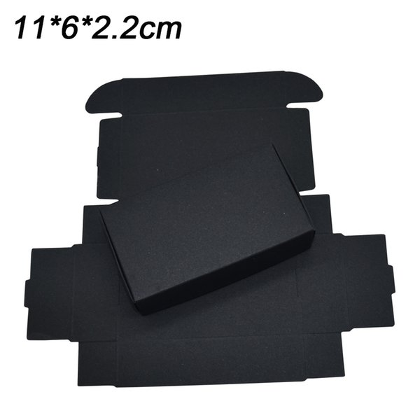11x6x2.2cm Black Foldable Bakery Packing Box Wedding Party Candy Craft Gift Card Packaging Kraft Paperboard Box Decoration