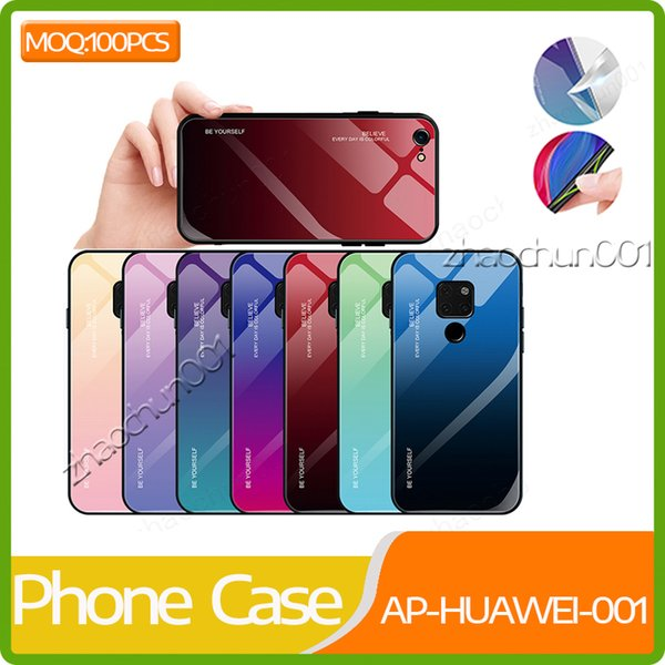 Gradual Colorful Tempered Glass Case Soft TPU Bumper Shock Absorption Phone Cover Case For Huawei Mate 20 Pro P20 P Smart P30
