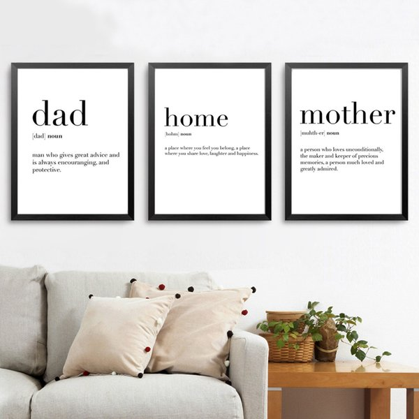 2019 Minimalist Family Definition Quotes Canvas Painting Black And White Poster Print Nordic Wall Art Living Room Home Decor From Huweilan