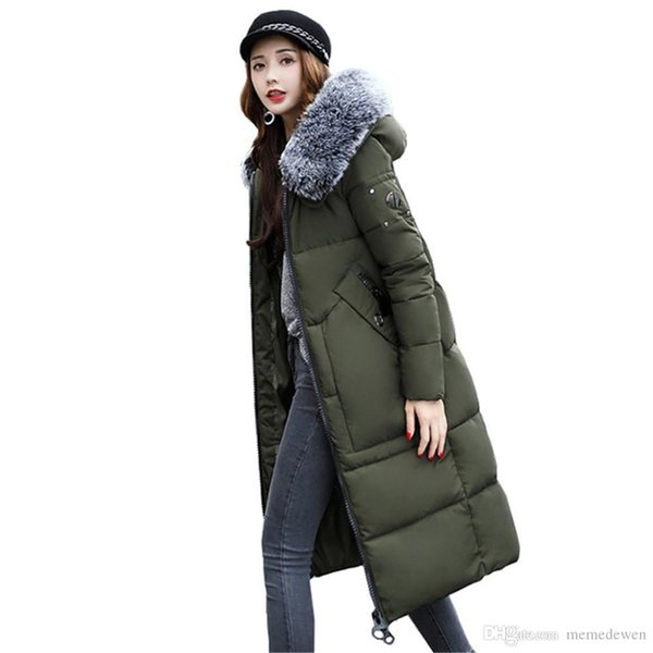 Winter Women Long Jacket Large Fur Collar Hooded Parkas Epaulet Army Green Military Coats Pocket Cotton Padded Overcoat NG-022