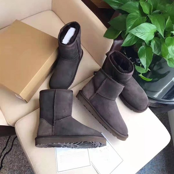 Hot Sale-women's middle tube winter cotton-padded shoes inside raised pile thickened warm ankle boots leather shoes for men and women stud