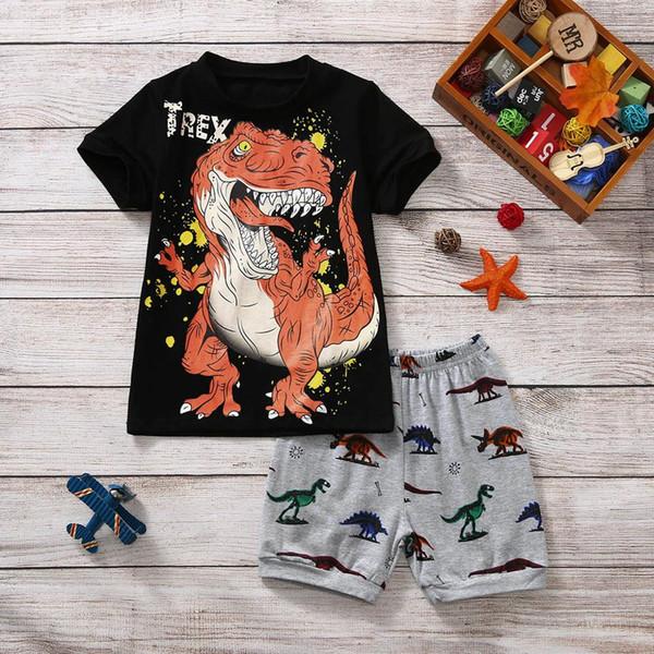 Baby Boy Clothes Cotton T shirt Tyrannosaurus Rex Comic Print Kids Children Toddler T shirt Tops + Shorts Pjs Outfits Set 2019