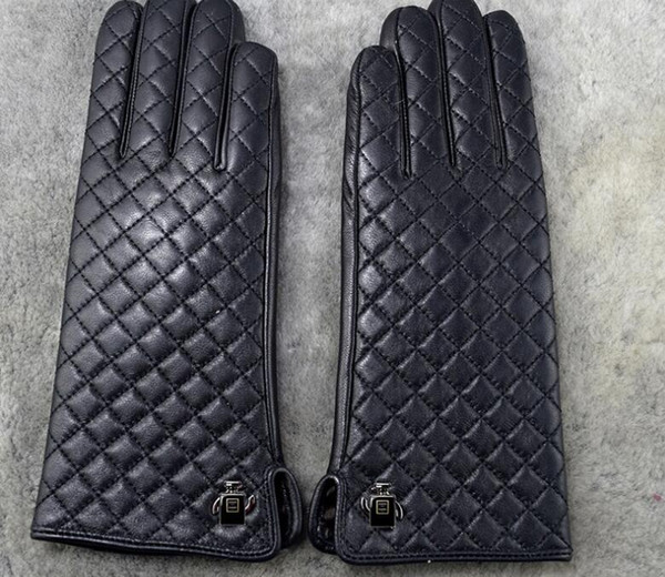 Women winter fur Luxury Leather Softs fashion brand gloves Diamond lattice rabbit soft warm sheepskin Sexy drive Locomotive rider gloves