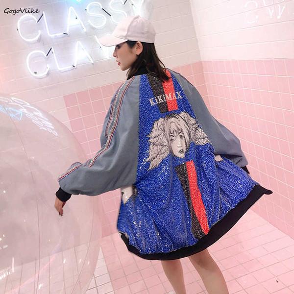 Harajuku Sequined trench coat para mulheres 2019 Spring Women Color Block Loose Harajuku Striped Windbreaker LT433S50