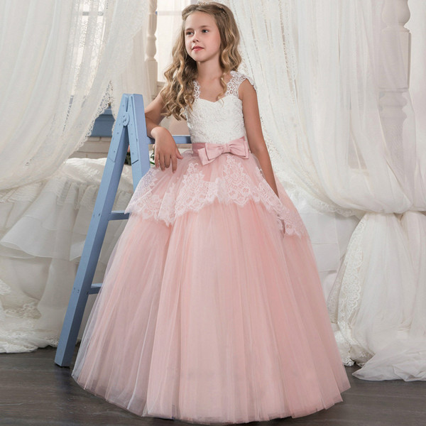 Fashion Flower Girl Dress Lace For The Wedding Princess Dress for the First Communion Ball Gown Vestido Comunion Costume