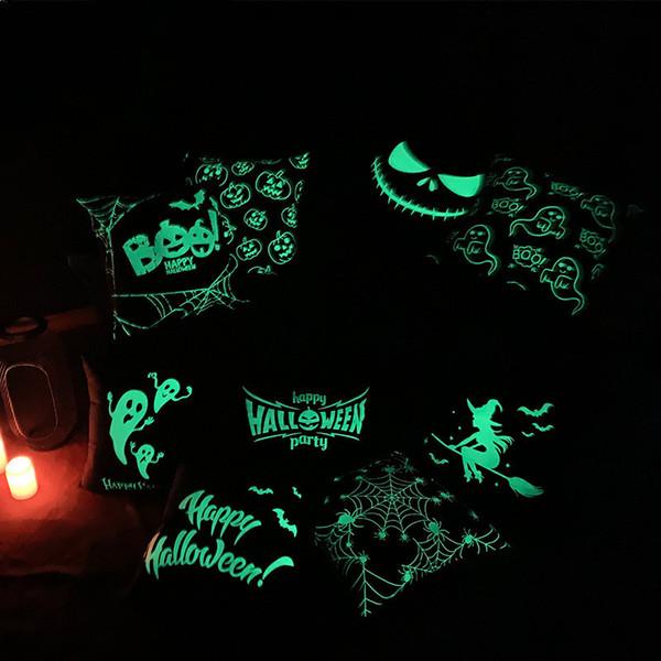 Fodera per cuscino federa luminosa luminosa di Halloween senza anima Copricuscino per decorazione di Halloween Fodera per cuscino per cuscino decorativo A04