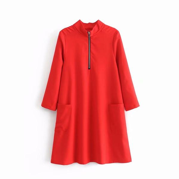 2019 новый женская мода стенд воротник молния украшения повседневная прямо красное платье женский карман патч vestidos мини-платья DS1833