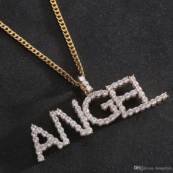 Nombre personalizado Zircon Cartas Collares Colgante Encanto Para Hombres / Mujeres Joyería de Hip Hop de Moda de Plata y Oro con cadena de cuerda