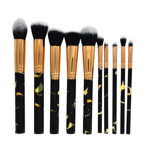 10pcs professionnel marbre pinceaux de maquillage pour la poudre de maquillage cosmétique fard à paupières fard à paupières maquillage brosse synthétique cheveux brosse dropship