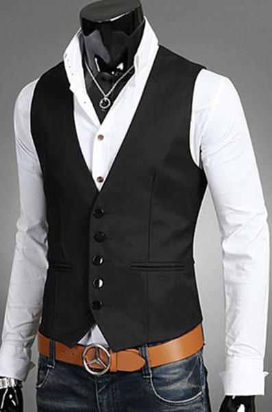 New Dress Vests For Men Slim Fit Mens Suit Vest Male Waist Coat Gilet Homme Casual Sleeveless Formal Business Jacket
