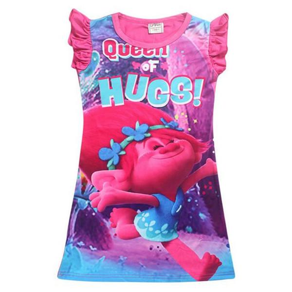 Baby Pajamas Dresses Cute Trolls Girls Cartoon Summer Kids Dress Short Sleeve Nightdress Kids Summer Polyester Clothing Baby Clothes