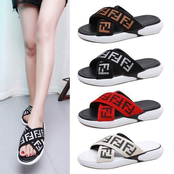 FF Tasarımcı Sandalet Yaz Marka Bayanlar Kadınlar Sandal Terlik Katır Flip Flop Platformu Düz Sandal Plaj Yağmur Banyosu Üzerinde Kayma ayakkabı C6507 Fends