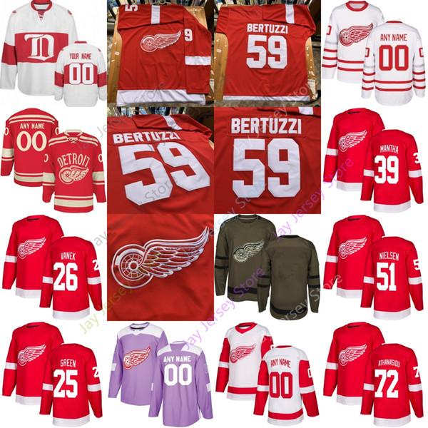 Benutzerdefinierte Detroit Red Wings Jersey Frans Bowey Nielsen Athanasiou Mike Green Mantha Cholowski Glendening Vanek Rasmussen Women Youth