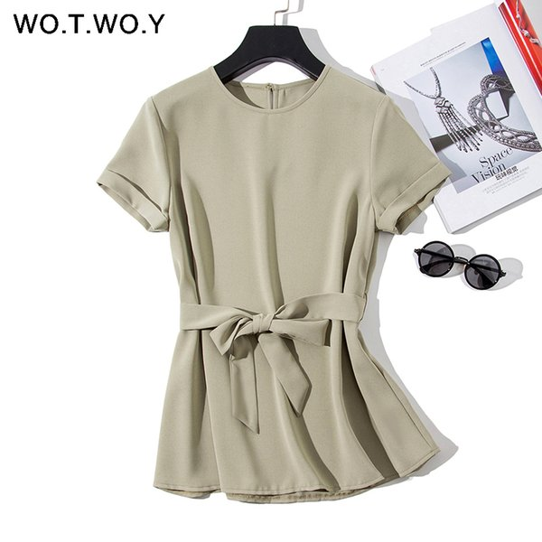 Wotwoy Plain Green Sashes T Shirts Women 2019 Spring Summer Casual O-neck Belt T-shirt Female Yellow Solid Woven Tops Harajuku Y19042702
