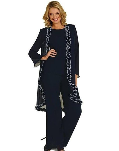 Women 3 Pieces Sexy Chiffon Mother of Bride dress pants suit Long Sleeves for Wedding Groom