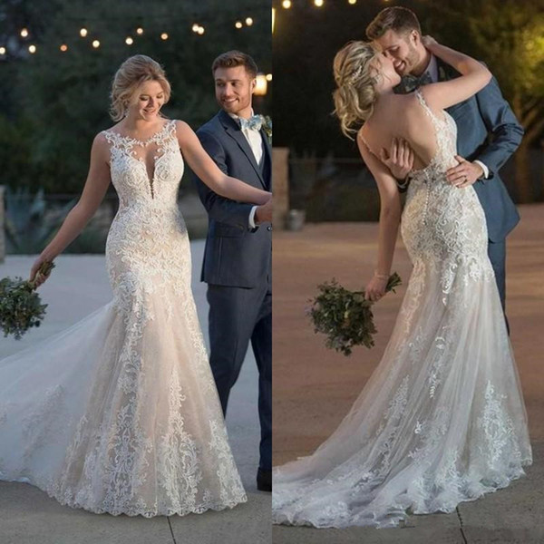 Country Mermaid Wedding Dresses 2019 vestido de novia Crew Neck Sleeveless Backless Sweep Train Applique Bridal Gowns robes de mariée