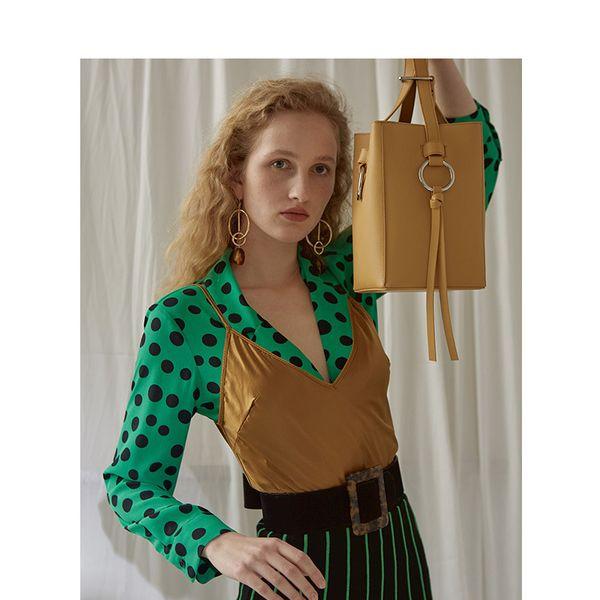 New Niche design leather bag tassel belt water bucket mother bag single shoulder diagonal straddle bag