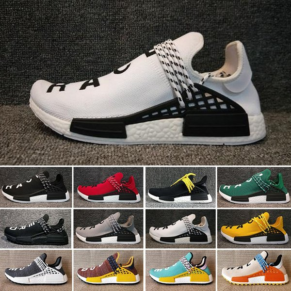 Adidas x Pharrell Williams Human Race Holi NMD Zapatillas para correr Pharrell Williams Hu trail Oreo Nobel ink Zapatillas de deporte de diseño nerd negro Hombres Mujeres