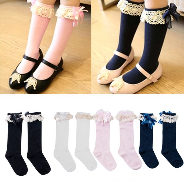 2019 New Kids Baby Socks for Girls Children Knee High School Lace Bow Princess Socks Solid Color Soft Warm Bow