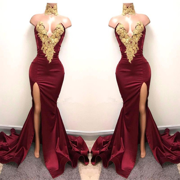 Burgundy Mermaid Prom Dresses 2019 Gold Lace Appliqued Sexy Black Girls Split Party Dresses Evening Wear Gowns BA5998