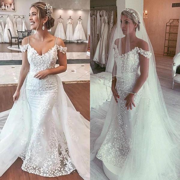 Al largo della spalla spalline Mermaid abito da sposa abiti da sposa lungo Tulle Overskirt pizzo floreale abito da sposa
