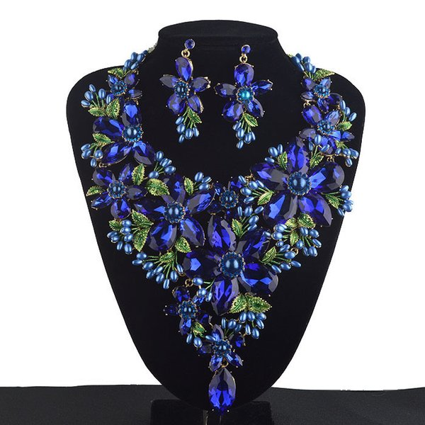 Royal Blue Statement sets Women Rhinestone crystal Big Party Necklace earrings set Colorful Bridal Wedding Jewelry C18122701