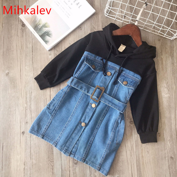 Mihkalev Baby For Girl Long Sleeve Dress Withe Sahes Spring Children Hoodies Jeans Dresses Kids Leisure Clothing Q190522