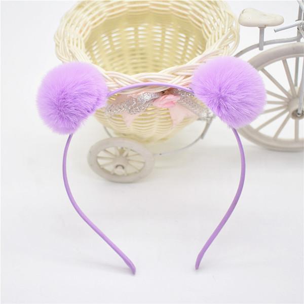 Boutique 20pcs Fashion Cute Fur Pom Pom Hairbands Hair Sticks Solid Fur Ball Headbands Princess Headware Winter Hair Accessories