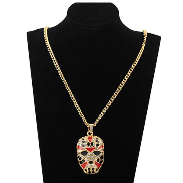 Creative Masque Pendentif Collier Hommes Hip Hop Couleur Strass Collier Géométrique Alliage Plaqué Or Pull Chaîne Bijoux Accessoires En Gros