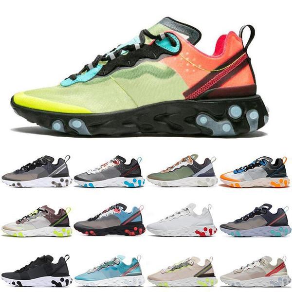 2019 87 55 React Element Undercover Hommes Chaussures de course pour les femmes Designer Chaussures Sport Chaussures entraîneur des hommes Voile légère os royal Tint 36-45