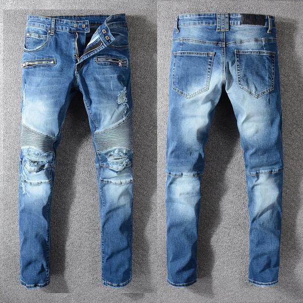 Fashion kpop skinny ripped korean hip hop fashion pants cool mens urban clothing jumpsuit men's jeans standard size