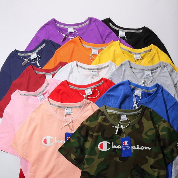CS 805 Yeni Moda 13 RENKLER Champs baskı LOGO kısa T-shirt Çiftler Severler saf pamuk Kısa Kollu Erkek kadın Hip Hop Sokak Stili Tees Sh