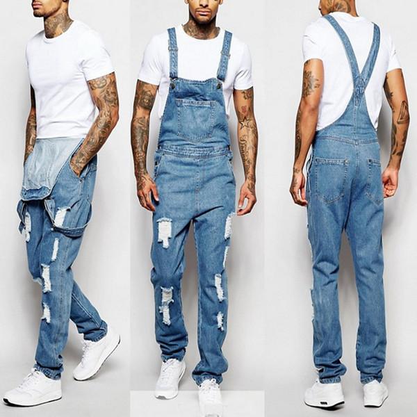 Homens jeans macacões New cor sólida com furo Jeans Bib geral Workout Botão Casual alta Jumpsuit Qualidade com o Pocket