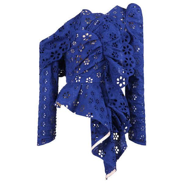 Magliette autoreggenti da donna di alta qualità 2019 Elegante manica lunga blu / bianca Scava fuori camicette di pizzo Camicia femminile Blusas