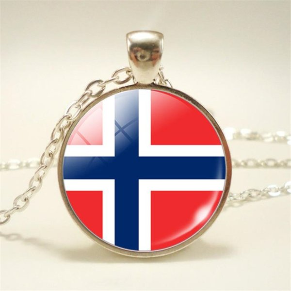 2019 New Fashion Norway National Flag World Time Gem Glass Cabochon Pendant Necklace For Womens Mens Long Link Sweater Chain Chokers Jewelry