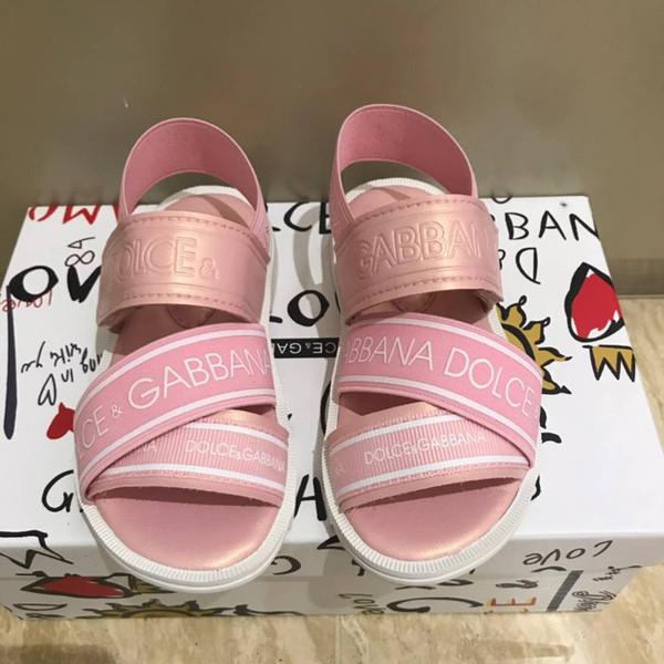 Sandália de couro rosa criança menina casa chinelos baby boy designer shoes crianças preto esporte sandálias Eu 26-35