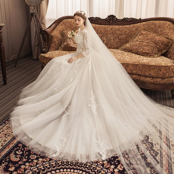 Winter long style 2019The bride's wedding dress and new arrived design for marry skirts lace soft comfortable material