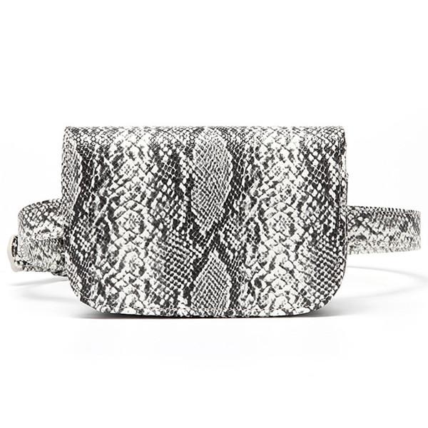 Cuadrado PU de cuero bolso de la cintura paquete de Fanny mujeres monederos bolso del pecho pequeño práctico durable moda serpentina diseño correa ajustable