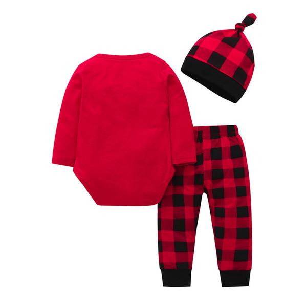 fbeb63d3d Buena calidad Conjunto de Ropa de Bebé Recién Nacido Niñas Niños Ropa 3  Unids Carta Tops Prin Plaid Pantalones Cap Ropa de Navidad Conjuntos  conjunto ...