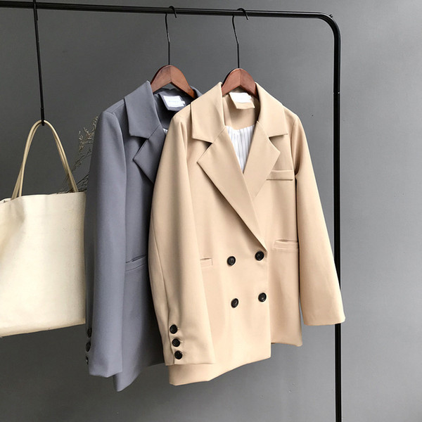 Mooirue Winter Woman Blazer Jacket Coat Double Breasted Cotton Chic Long Suit Female Khaki Blue Casual Cardigan T190906