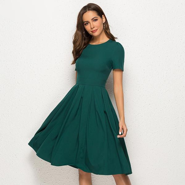 Бальные платья Женщина одежда лето Женщины Винтажная линия платье с коротким рукавом O шеи до колен Твердая платье Новая мода Элегантные