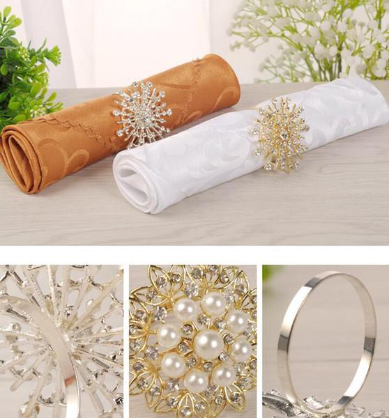 14 Stil Metalllegierung Serviettenring glänzend Strass Kristall Serviettenschnalle Gold Silber Farbe Halter für Party Tisch Dekor