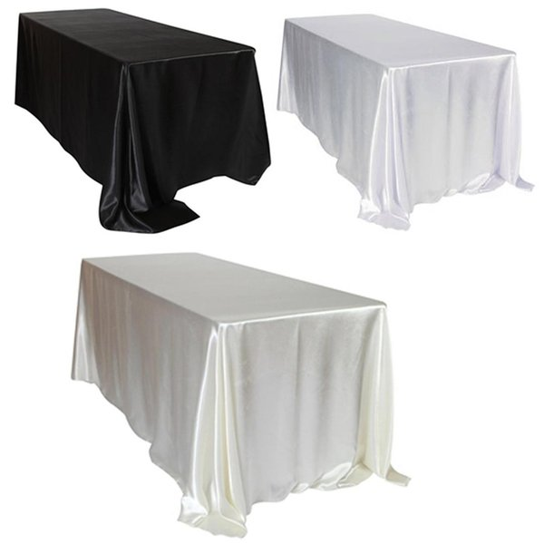 1pcs 228x335cm White/Black Satin Tablecloth Rectangular Hotel Banquet Table Cloth For Wedding Party Christmas Home Decoration