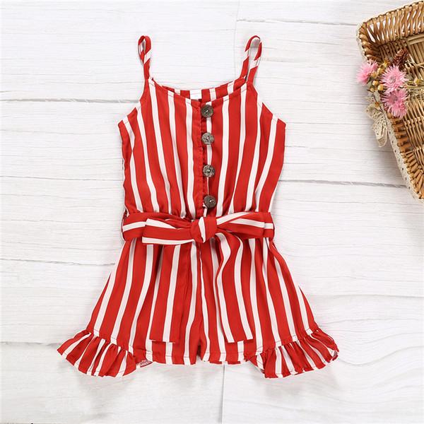 Summer Toddler kids Baby Girls clothes Strap Striped Red Romper Strap Jumpsuits kids designer clothes girls JY387