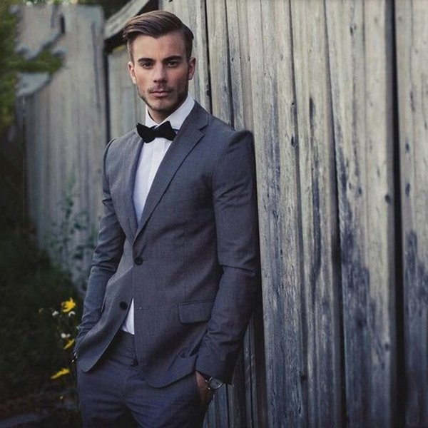 Zarif Gri Erkekler Düğün Damat Smokin Için Uygun İyi Adam Parti Balo Adam Blazer 2 Parça Sokak Giyim Akıllı Iş Erkek Ceket
