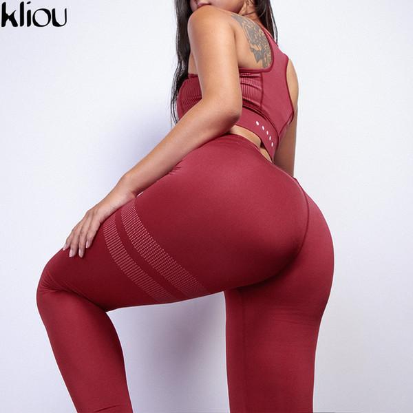 Kliou Fitness Two Piece Женщины Сексуальный Комплект Бюстгальтер Спортивный Топ + длинные брюки Высококачественные Спортивные Костюмы Q190506