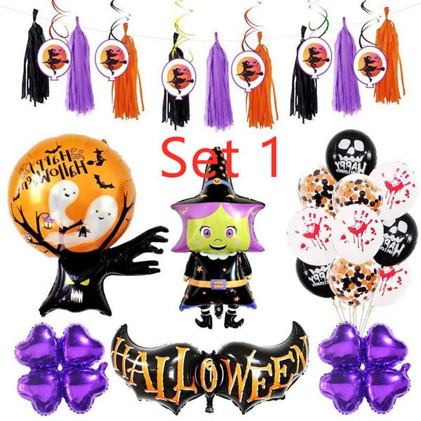 Set di palloncini di Halloween Articoli per feste di festa Decorazioni di Halloween Palloncino di pipistrello Spirale Fascino Strega Set di stregoni A04