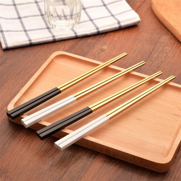 Wholesale Gold Chopsticks Wedding Stainless Steel Chopsticks Gold Plated Chopsticks Black or White Handle Fancy Design