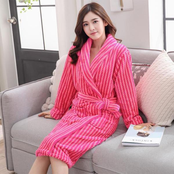 Autumn Winter Women Sleepwear Robes 2018 Flannel Thick Kimono Long Sleeve Home Wear Bathrobes Nightgown Sexy Warm Women's Robes